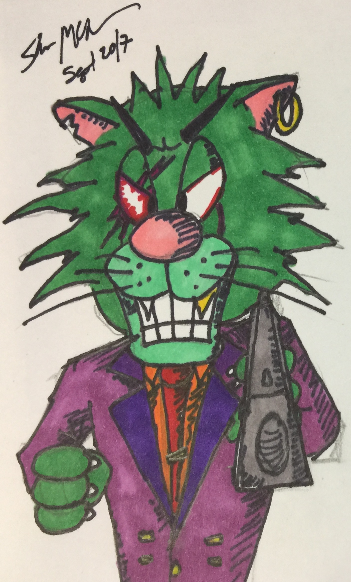 green-cat mcgee doodle 2017