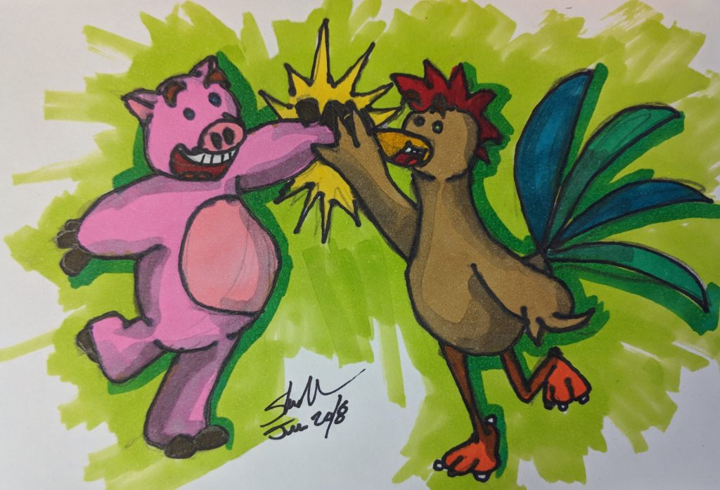 ham and chicken high-five combo doodle 2018